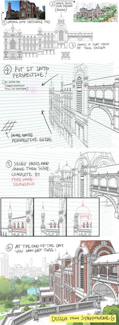 How to Draw Detailed Buildings - by Thomas Romain - perspective Drawing Lessons, Drawing Techniques, Drawing Tips, Drawing Reference, Doodle Drawing, Poses References, Perspective Drawing, Photoshop, Urban Sketching
