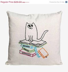 ON SALE Pillow cat and books embroidered pillow cover by NIARMENA, $17.40