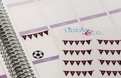 Girl Soccer Balls and Game Banner Life Planner Die-Cut Stickers!  Set of 78 Perfect for the Erin Condren Planner!! SP17