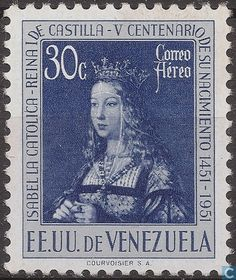 Stamps - Venezuela - Birthday Isabella of Spain 1951