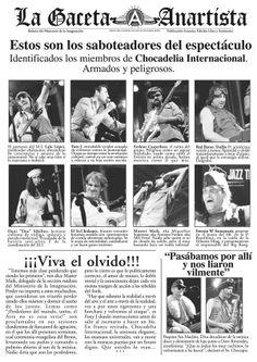 """Chocadelia Internacional - Gaceta Anartista, publicado para la promoción del espectáculo """"Canciones para perder una guerra"""" estrenado en la Nova Jazz Cava de Terrassa, 2008. Rktr Studios & Lalo López."""