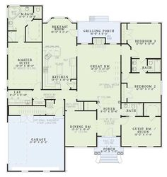 Floor plan, 2486 sq ft. Flip plan, close dining for Gunroom, bdrm 2-3 for Inlaw Ste moving closet space for a door outside and add third car garage.