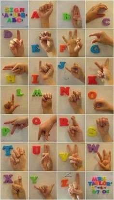 Help the deaf, learn sign language, American Sign Language chart, photo of sign language letters Sign Language Basics, Sign Language Phrases, Sign Language Alphabet, Learn Sign Language, Sign Language Interpreter, British Sign Language, Language Lessons, Baby Sign Language Chart, Baby Language