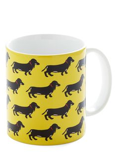 Pup Bright and Early Mug. You will definitely 'bow-wow' your work buddies as you sip your morning cuppa joe from this adorable dachshund mug! #yellow #modcloth