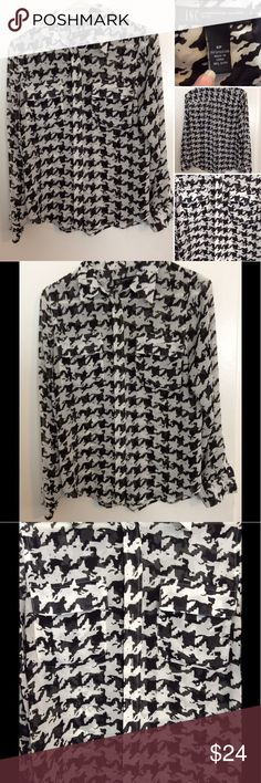 INC black and white sheer long sleeve top This gorgeous INC international concepts top is in excellent new like condition. Has a beautiful black and white pattern to it. It's a size small and is a sheer material. 100% polyester. Comes from a smoke free home INC International Concepts Tops