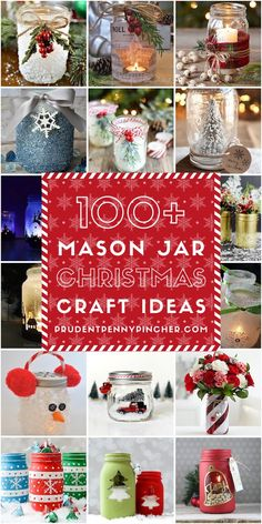 100 Mason Jar Christmas Crafts These festive and creative DIY mason jar Christmas crafts include centerpieces, lanterns, ornaments, outdoor decor, and more. Mason Jar Christmas Decorations, Christmas Jars, Diy Christmas Gifts, Christmas Projects, Holiday Crafts, Christmas Ideas, Christmas Porch, Rustic Christmas, Table Decorations