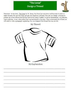 The Lorax Design a Thneed Writing and Art Activity