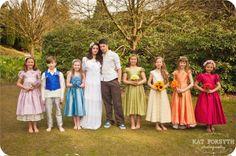 Rainbow wedding flowergirls