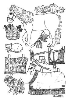 fall pony paper doll coloring page