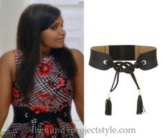 """Mindy's knotted leather belt worn with her floral houndstooth peplum top in """"While I Was Sleeping""""!"""