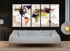 world map push pin wall art print large canvas by WorldWallArtShop