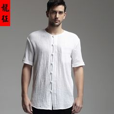 17719fc51 Oriental Style Scoop Neck Short Sleeve Flax Blouse - White - Chinese Shirts  & Blouses - Men. Oriental StyleOriental FashionChinese ShirtMandarin ...