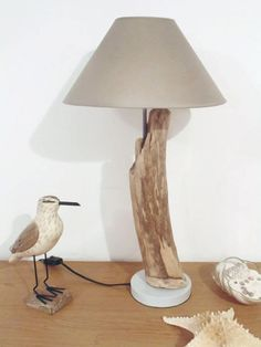 lampe bois flotté abat jour gris taupe conique création Table Led, Lustre Metal, Gris Taupe, Living Room Lighting, Sell On Etsy, Lampshades, Decoration, Bulb, Wood