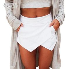 Women's Summer Sexy Casual Asymmetrical Front Candy Color Tulip Skort Shorts New Arrival - TakoFashion - Women's Clothing & Fashion online shop Culotte Shorts, Zara Shorts, Outfit Chic, Jupe Short, Summer Outfits, Cute Outfits, Short Skirts, Dress To Impress, Ideias Fashion