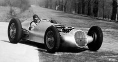 Rudolf Uhlenhaut at the wheel of the Mercedes-Benz 3-l formula racing car (W 154) during first tests in Monza, 1938.