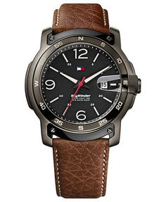 Tommy Hilfiger Watch, Men's Brown Leather Strap 48mm 1790897