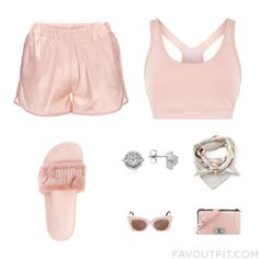 Ootd Tips Featuring Anine Bing Shorts Pink Sports Bra Puma Sandals And White Gold Earrings From May 2016 #outfit #look