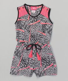Girls Luv Pink Fuchsia Zebra Romper - Toddler & Girls | zulily