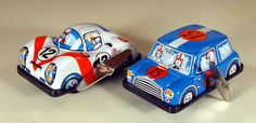 Vintage Tin Mini Cooper S Rally Car (blue) and a Porsche Racing Car U-Turn W/U Toys from Japan, NOS by bobboot on Etsy