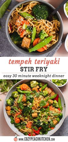 Tempeh, fresh veggies, and noodles are combined with an easy homemade teriyaki sauce in this delicious 30 minute vegetarian stir fry! #weeknightdinner #vegetarianrecipes #easyrecipes Great Dinner Recipes, Easy Vegan Dinner, Dinner Ideas, Vegetarian Stir Fry, Vegetarian Comfort Food, Easy Healthy Recipes, Veggie Recipes, Vegetarian Recipes, Best Stir Fry Recipe
