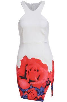 White Sleeveless Floral Split Bodycon Dress 20.33