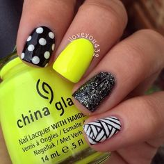 Neon Black White #nail #nails #nailart #unha #unhas #unhasdecoradas
