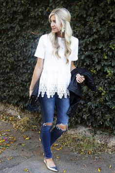 Lace Top + Distressed Jeans + Silver Flats + Black Leather Jacket