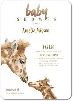 Giraffe Kiss - Baby Shower Invitations in Sienna Brown | Lady Jae Designs