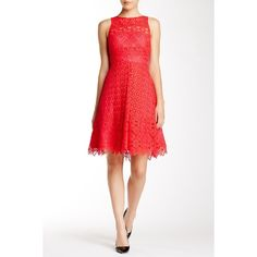 ML Monique Lhuillier Sheer Neck Lace Cocktail Dress ($230) ❤ liked on Polyvore featuring dresses, poppy, pleated dress, white sheer dress, see through dress, white pleated dress and white scalloped dress
