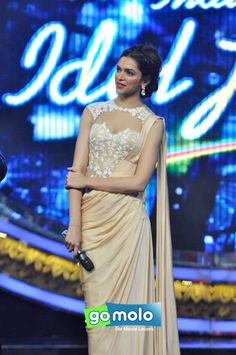 Deepika Padukone at the promotion Hindi movie 'Chennai Express' on the sets of Indian Idol Junior at Film City in Mumbai Indian Reception Dress, Wedding Reception Outfit, Reception Gown, Wedding Dresses, Western Dresses, Indian Dresses, Indian Outfits, Indian Clothes, Indian Wedding Theme