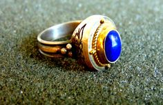 Beautful sterling silver, 18k gold and lapis lazuli statement ring-Women's silver and gold ring-Gemstone women's rings-Atisan jewelry by ArchipelagosBreeze on Etsy