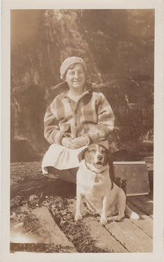 Old Vintage Antique Photograph Woman Sitting Outside With Adorable Puppy Dog