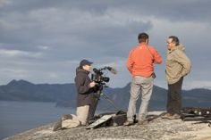 Pierre-Frédérique Chénier, Guilhem Rondot and Johannes Lampe during the filming in Nain