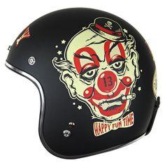 Lucky 13 Mens Happy Fun Time Matte Black Open Face Helmet
