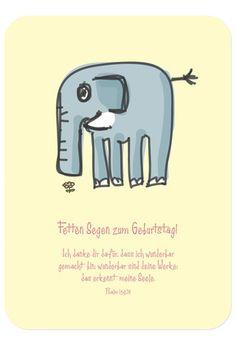 Postkarte - Geburtstag - Elefant