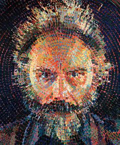 """""""Lucas II"""" - Chuck Close, oil on canvas, 1987 {figurative realism male head concentric circles man face portrait painting}"""