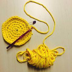 Base de trapillo (: #reciclado #ecológico #hechoamano #handmade #ganchillo #trapillo #crochet #creativity #cratividad #craft #colours #colores #inspiration #loveit #beautiful #ideas #amarillo #yellow