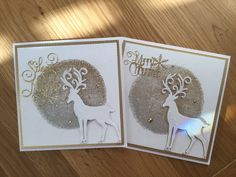 Christmas Cards To Make, Christmas Greeting Cards, Christmas Greetings, Simple Backgrounds, Die Cutting, Handmade Cards, Printmaking, Card Ideas, Deer