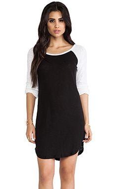 MONROW Colorblock Linen Rock Dress in Black & White | REVOLVE