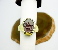 Antique Intaglio Seal Ring Equestrian Engraving by TampicoJewelry, $495.00