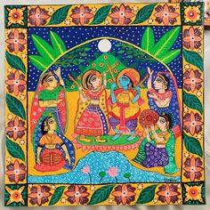 Madhubani Art, Silk Painting, Mandala Art, Paintings, Artwork, Fashion Design, Work Of Art, Paint, Auguste Rodin Artwork