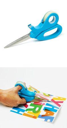 Scissors + tape dispenser in one - smart!