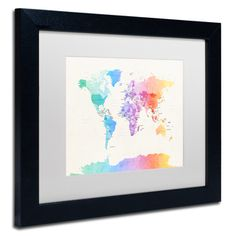 Printable art rainbow watercolor world map printable wall art michael tompsett watercolor world map matted framed art sciox Image collections