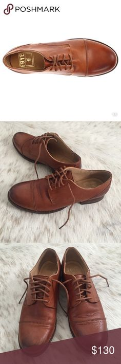 Frye Erin Oxford in Whisky size 8 Frye Erin Oxford in rare Whisky color. Size 8. Worn a handful of times. Slight scuffs on toes as shown in the photos. But overall great condition. Very comfortable. Very well made. Please be aware of how Frye shoes fit you. I am an 8.5 and these fit like a glove. Maybe check out their website and look at their sizing chart if you're unsure. Frye Shoes Flats & Loafers