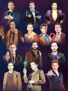 Artist Brandon Bird Paints Actor Shia LaBeouf as Every Version of The Doctor From 'Doctor Who'