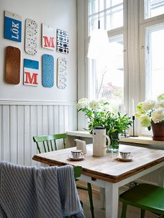 i love everything about this (wall collage, light fixture, table, colors)