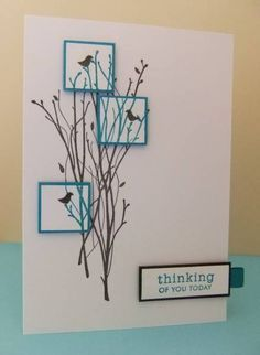 Love it! Stamps: PTI sentiment, Crafty Individuals birds, Memory Box branches Paper: White card, turquoise and black scraps Ink: Black Versafine, turquoise Versacolor Accessories: Ribbon scrap, Pop Dots, square punch
