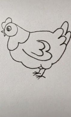 Chicken Easy Drawing – Famous Last Words Easy Drawings For Kids, Art Drawings Sketches Simple, Pencil Art Drawings, Bird Drawings, Cute Drawings, Sketching For Kids, Easter Drawings, Drawing Birds, Tattoo Sketches
