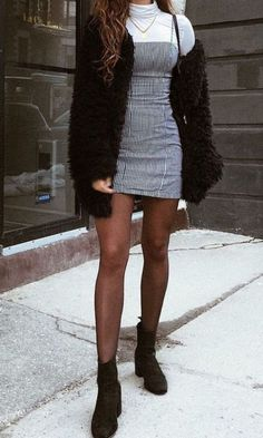 Dress and tights outfit, fall outfits, casual outfits, cute outfits, Teenager Outfits, Outfits For Teens, Girl Outfits, Teenager Fashion, 6th Form Outfits, Cardigan Noir, Black Cardigan, Dress And Cardigan, Cardigan Fashion