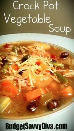 Crock pot vegetable soup #dinner #recipe #slowcooker
